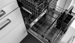 Picture of an open electric dishwashwer